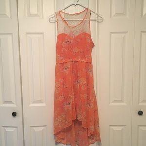 Orange floral dress with lace PacSun